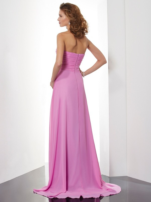 A-Line/Princess Sweetheart Sleeveless Ruched Long Chiffon Dresses