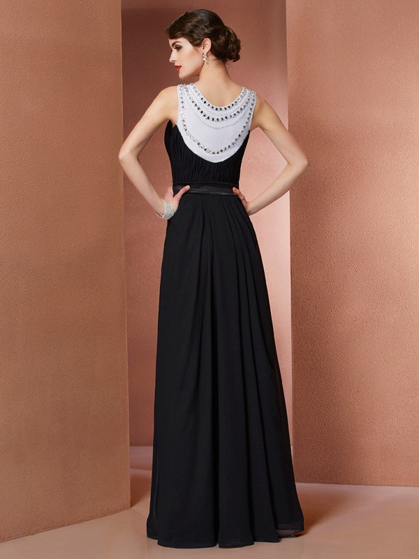 Sheath/Column Scoop Sleeveless Beading Long Chiffon Dresses