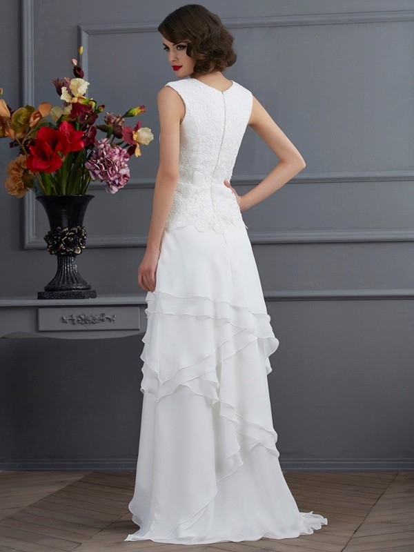 Sheath/Column Bateau Sleeveless Lace Asymmetrical Chiffon Dresses
