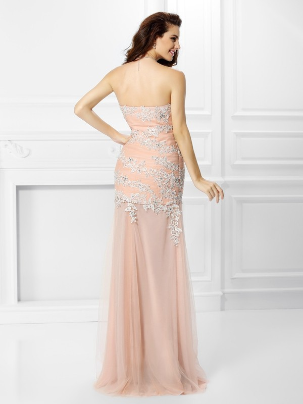 Trumpet/Mermaid Sweetheart Applique Sleeveless Long Chiffon Dresses