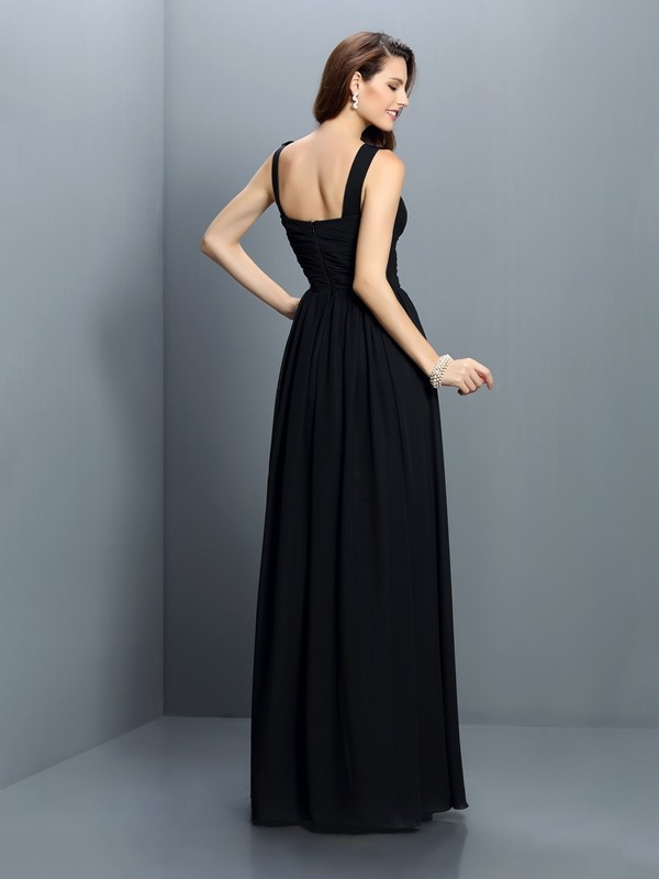 A-Line/Princess Bateau Pleats Sleeveless Long Chiffon Bridesmaid Dresses