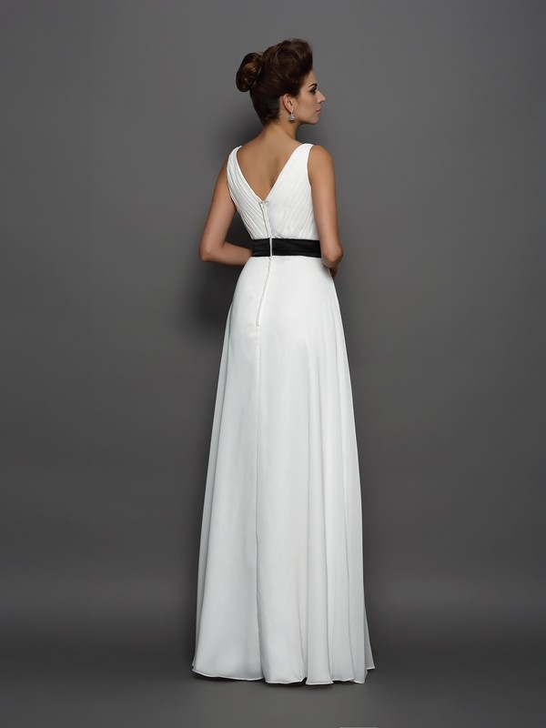 A-Line/Princess V-neck Sash/Ribbon/Belt Sleeveless Long Chiffon Wedding Dresses