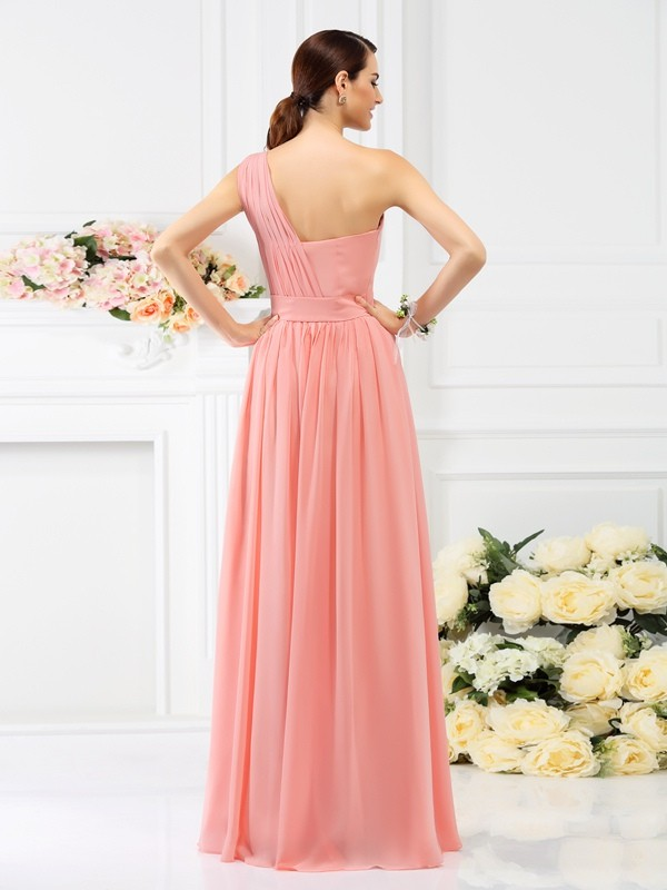 A-Line/Princess One-Shoulder Pleats Sleeveless Long Chiffon Bridesmaid Dresses