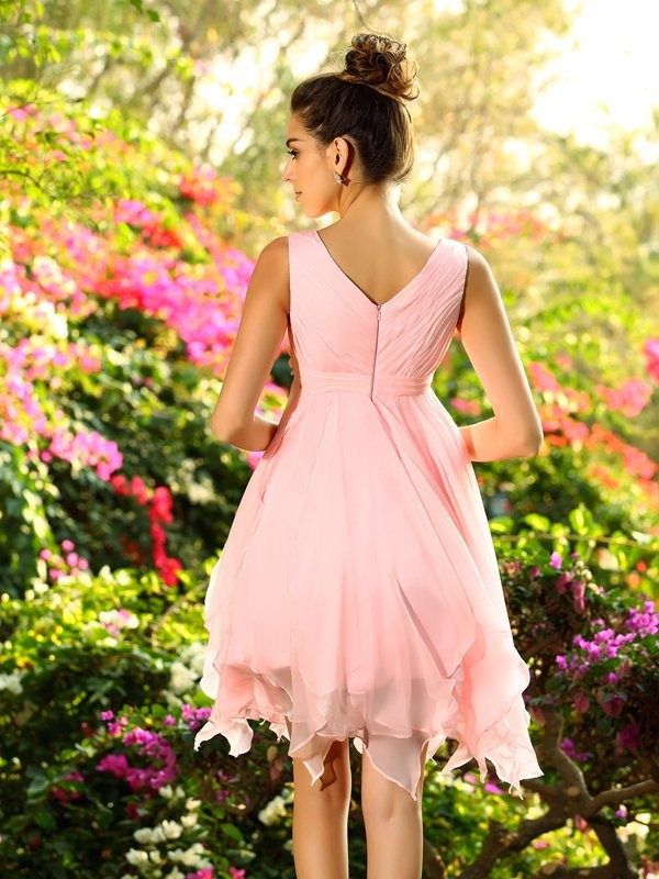 A-Line/Princess V-neck Chiffon Sleeveless Knee-Length Ruffles Bridesmaid Dresses