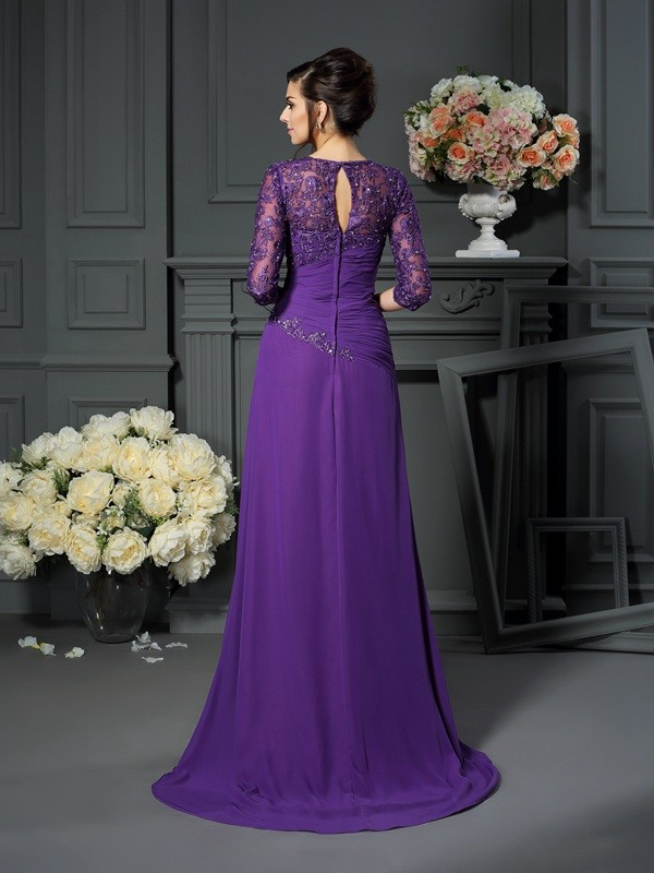 A-Line/Princess Sweetheart Applique 1/2 Sleeves Long Chiffon Mother of the Bride Dresses