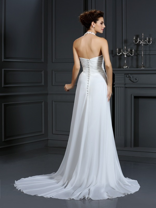 A-Line/Princess Halter Beading Sleeveless Long Chiffon Wedding Dresses