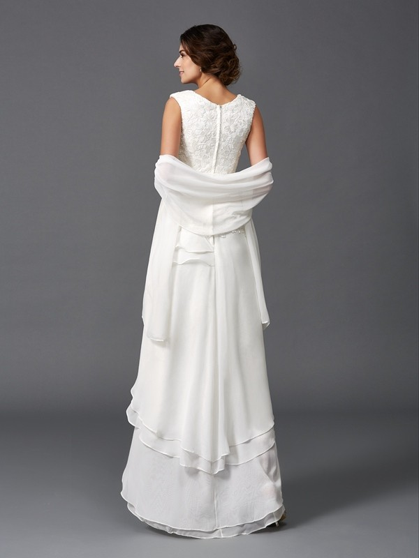A-Line/Princess Scoop Sleeveless Lace Asymmetrical Chiffon Mother of the Bride Dresses