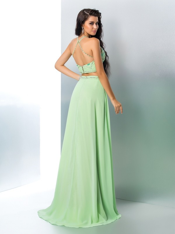 A-Line/Princess Halter Beading Sleeveless Long Chiffon Two Piece Dresses