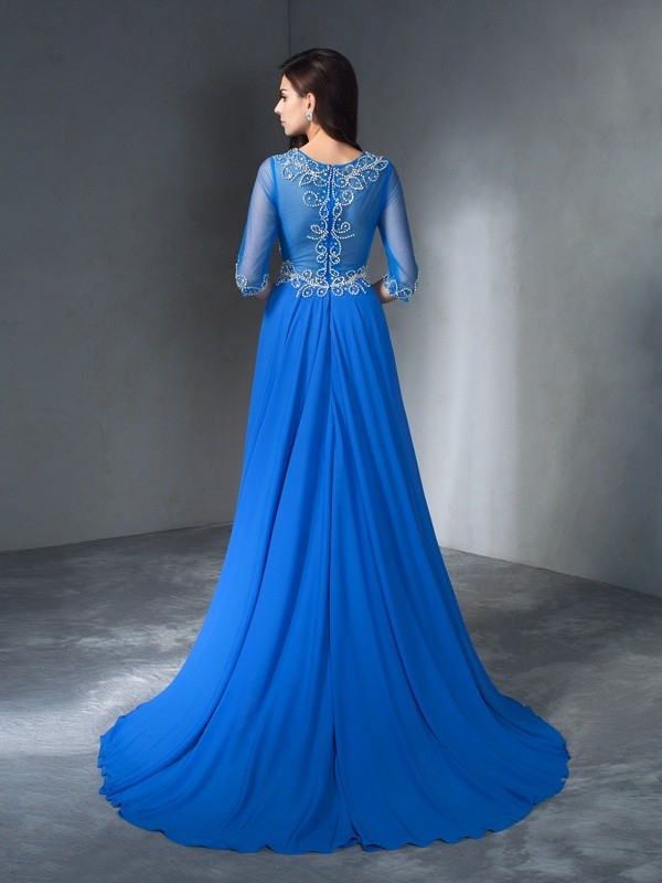 A-Line/Princess Scoop Beading 1/2 Sleeves Long Chiffon Dresses