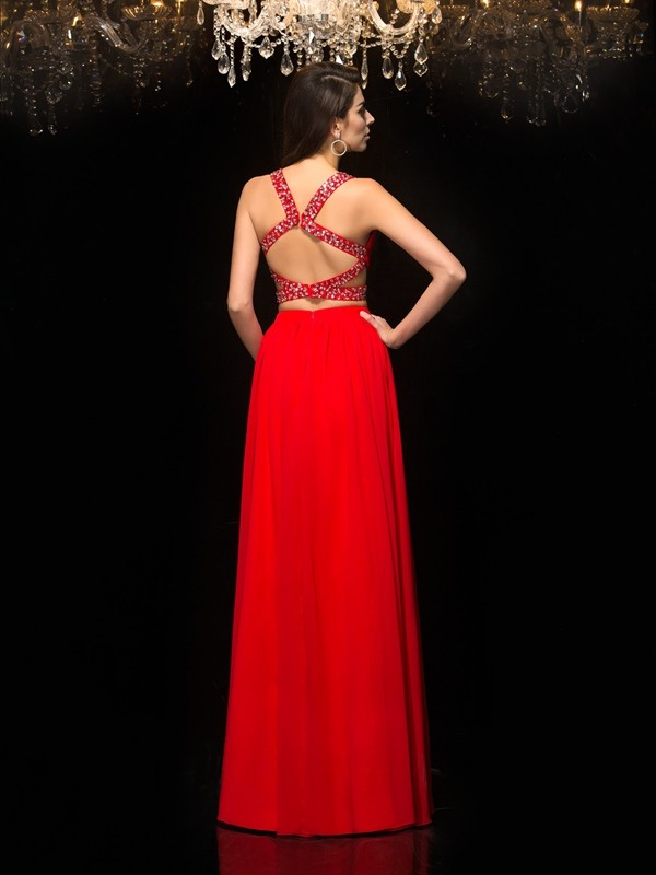 A-Line/Princess V-neck Beading Sleeveless Long Chiffon Two Piece Dresses
