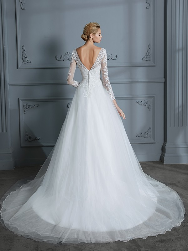Ball Gown V-neck Long Sleeves Court Train Lace Tulle Wedding Dresses
