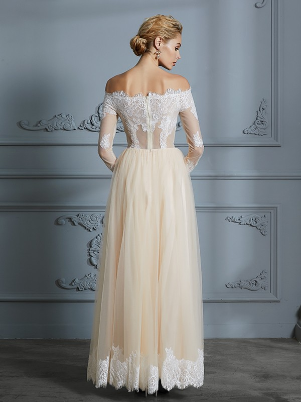 A-Line/Princess Off-the-Shoulder Long Sleeves Floor-Length Lace Tulle Wedding Dresses