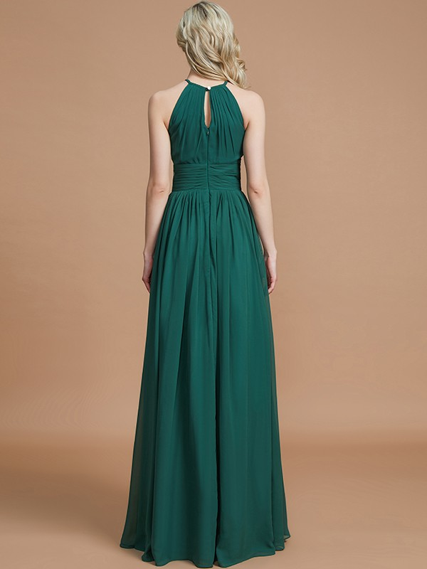A-Line Chiffon Scoop Sleeveless Floor-Length Bridesmaid Dresses