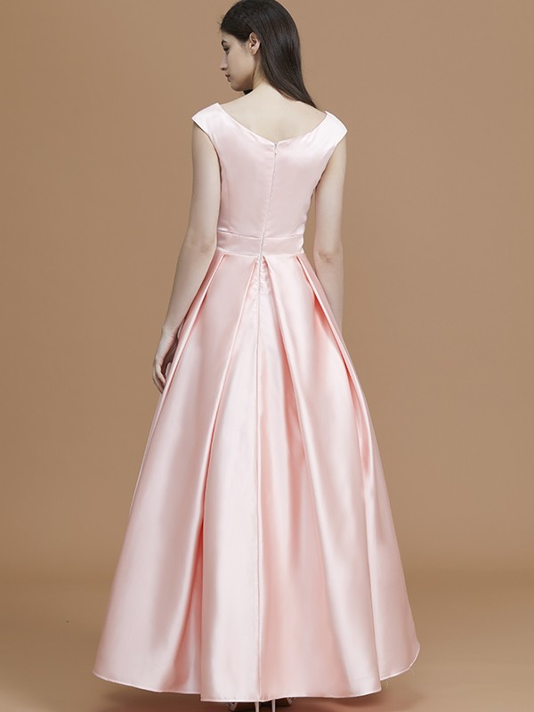 A-Line Bateau Sleeveless Asymmetrical Satin Bridesmaid Dress