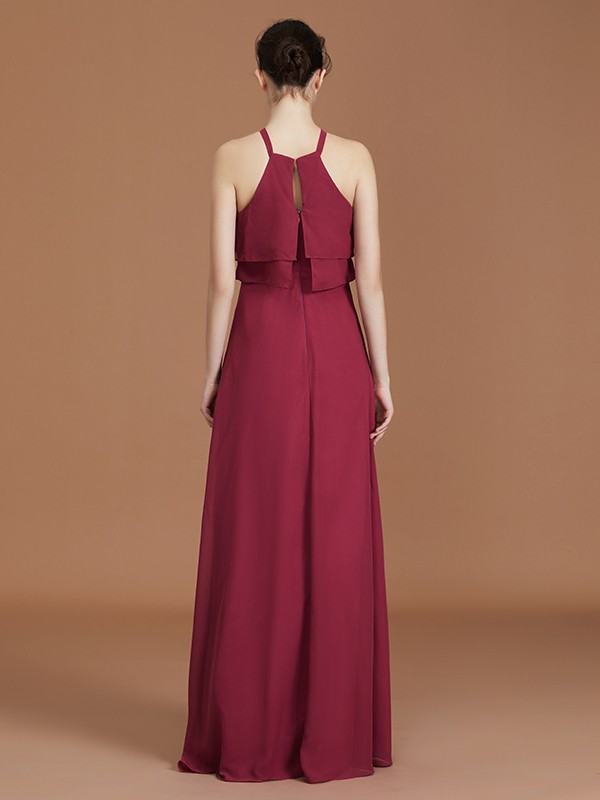 A-Line Scoop Sleeveless Floor-Length Chiffon Bridesmaid Dress