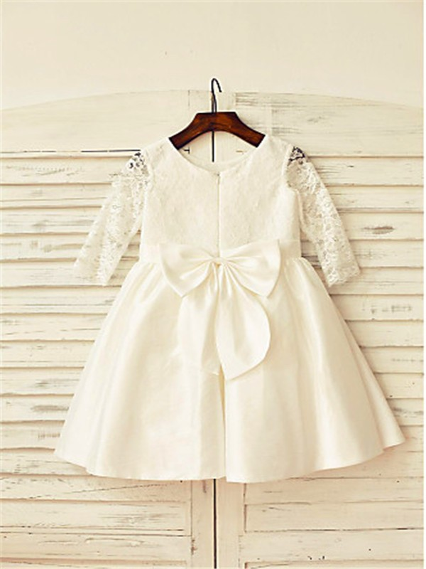 Discount A-line Jewel Long Sleeves Lace Tea-Length Satin Flower Girl Dress