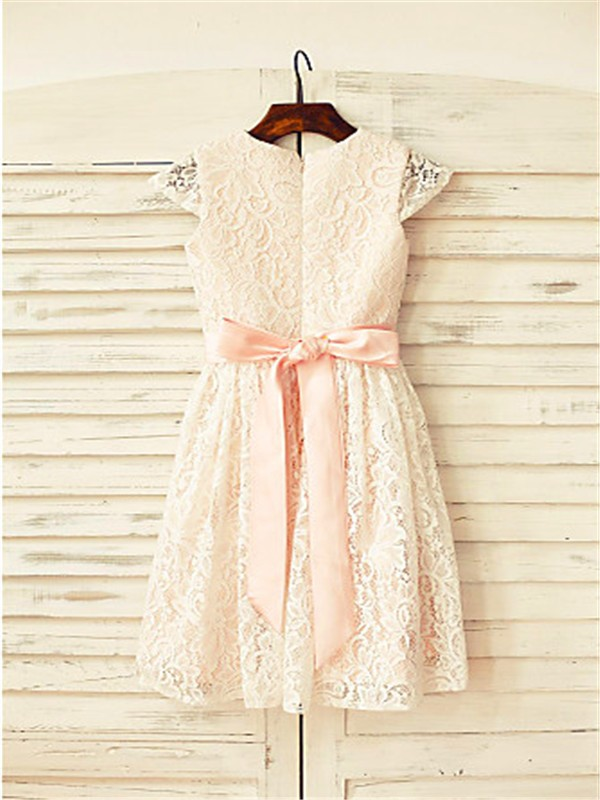 Fashion A-line Scoop Short Sleeves Tea-length Lace Flower Girl Dress