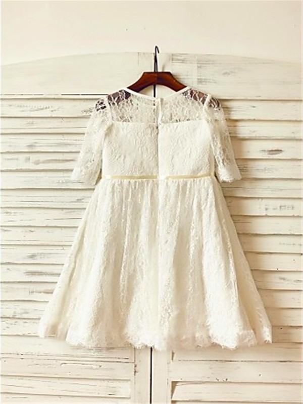 Cheap A-line Scoop 3/4 Sleeves Ankle-Length Lace Flower Girl Dress