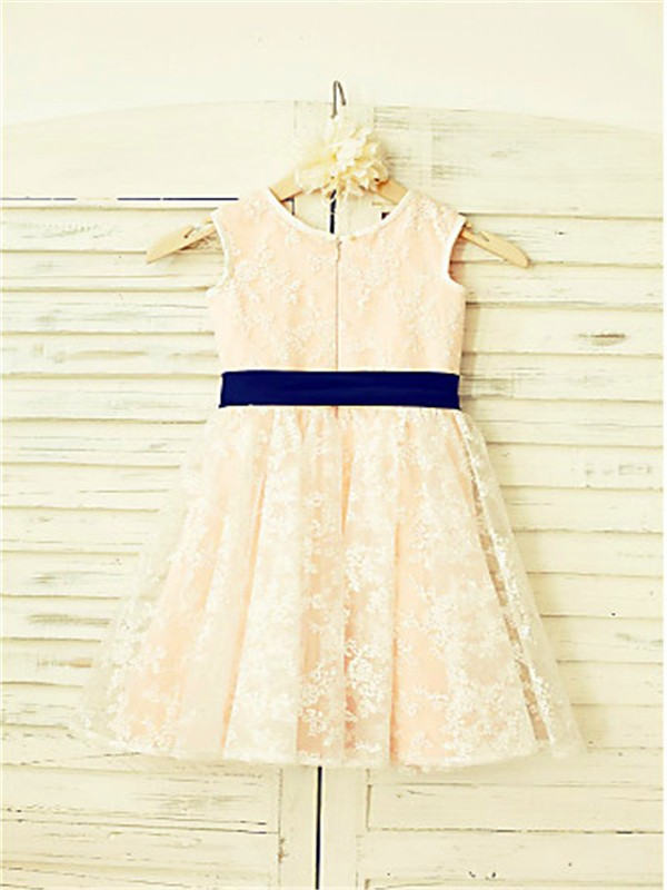 Discount A-line Scoop Sleeveless Ankle-Length Lace Flower Girl Dress