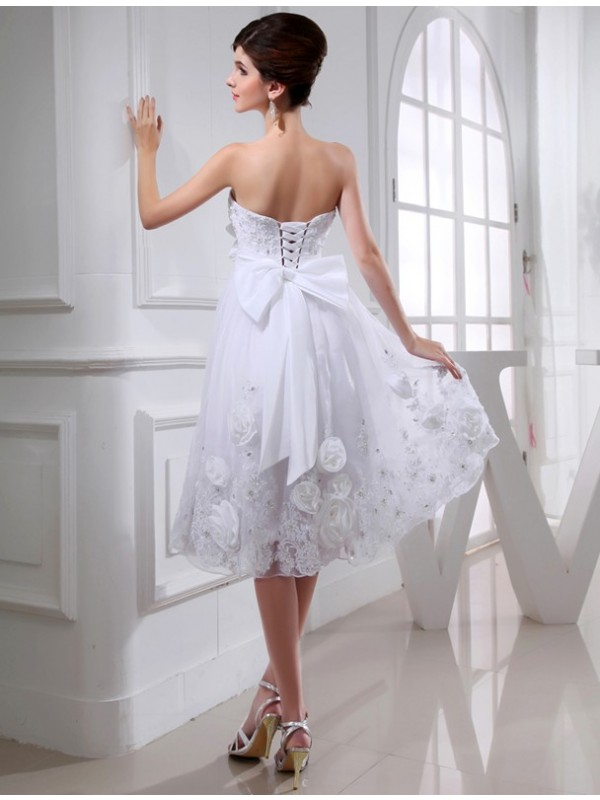 A-Line/Princess Beading Sleeveless Short Organza Taffeta Applique Wedding Dresses