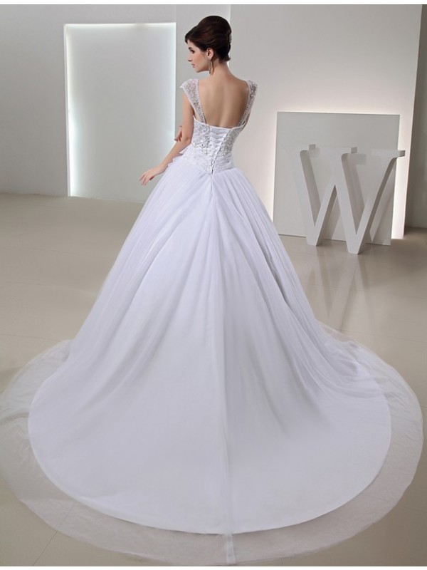 Beading Long Ball Gown Embroidery Organza Bowknot Wedding Dresses