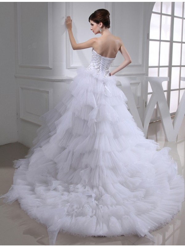A-Line/Princess Beading Sweetheart Sleeveless Satin Wedding Dresses