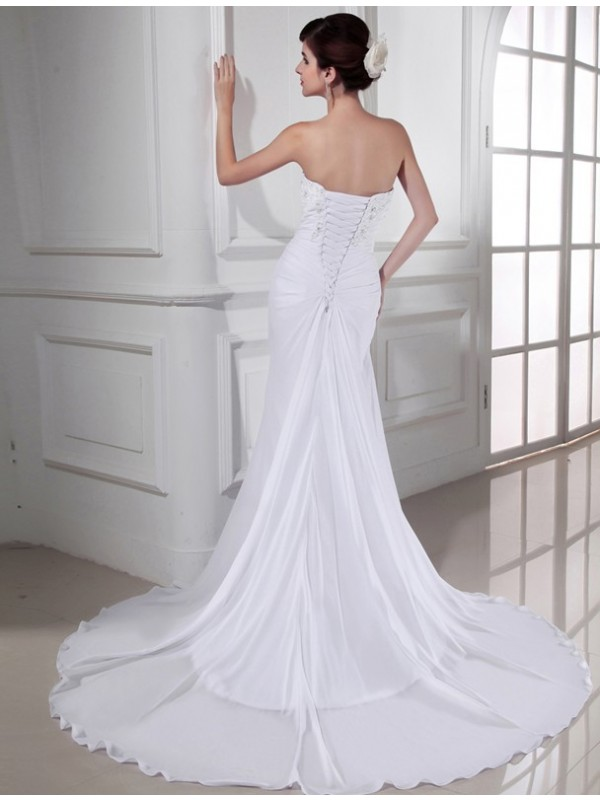 Trumpet/Mermaid Beading Sweetheart Sleeveless Chiffon Long Wedding Dresses