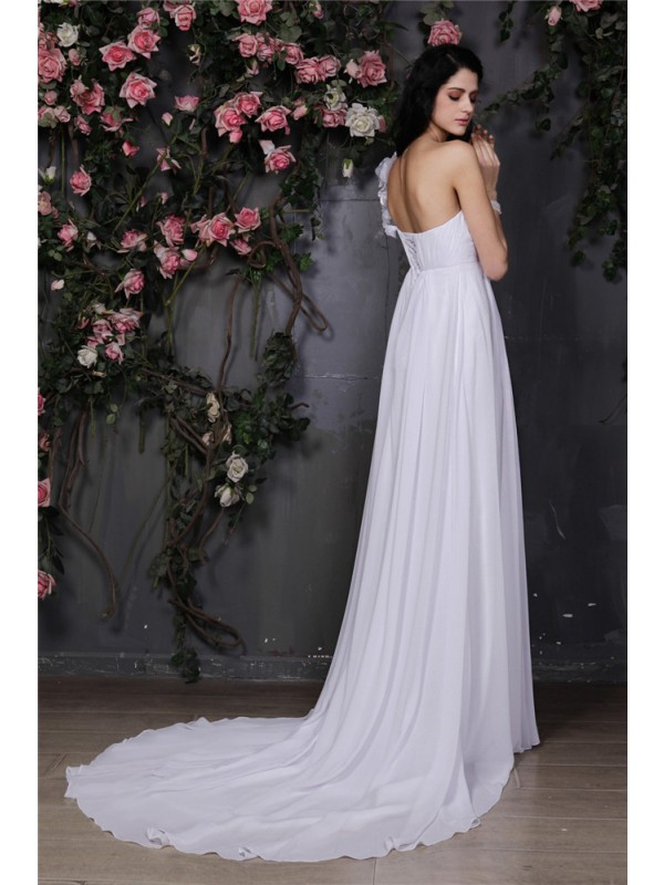 A-Line/Princess One-Shoulder Sleeveless Hand-Made Flower Ruffles Long Chiffon Wedding Dresses