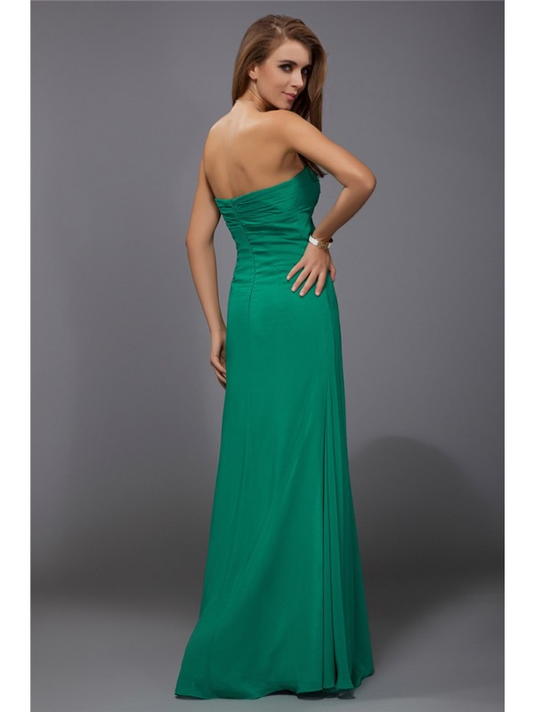 Sheath/Column Strapless Sleeveless Ruffles Long Chiffon Bridesmaid Dresses