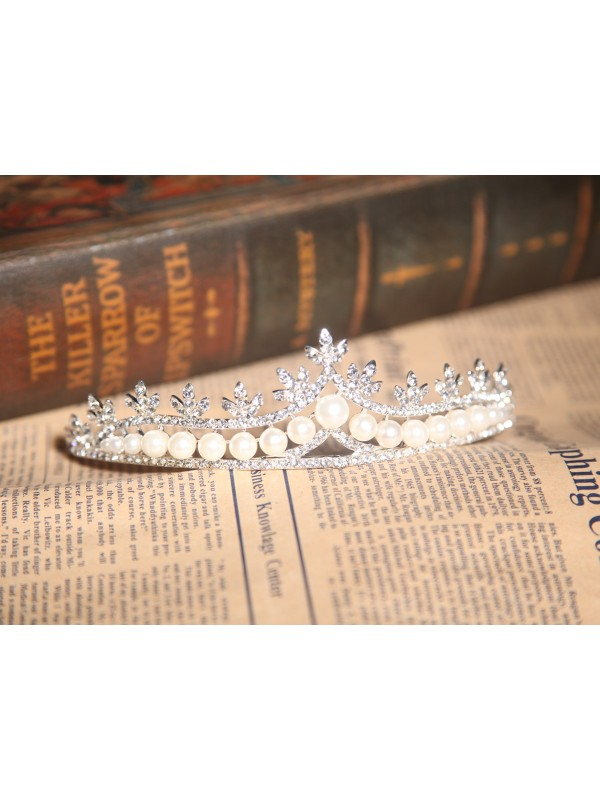 Nice Alloy With Czech Rhinestones Pearls Wedding Headpieces