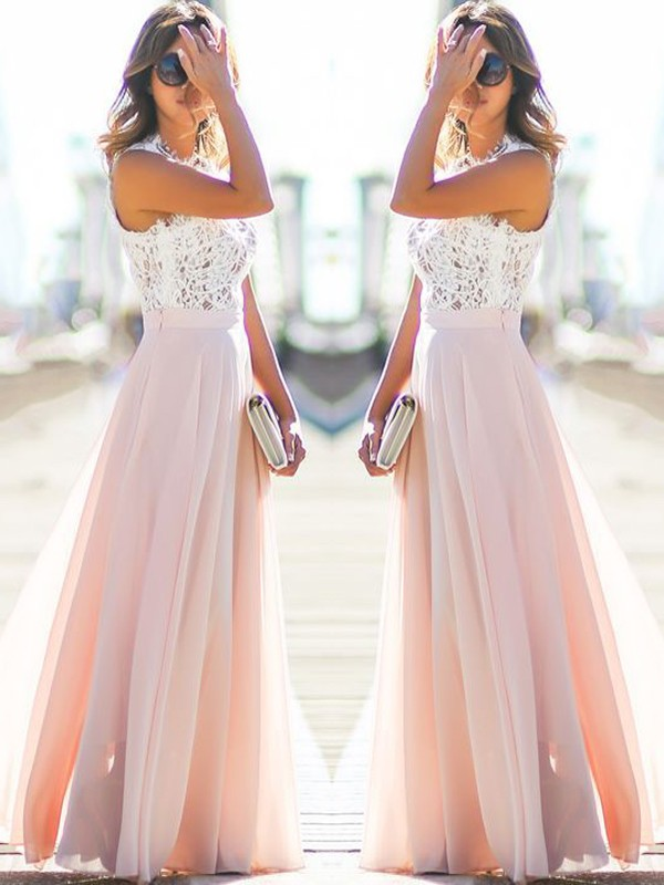 A-Line Jewel Sleeveless Floor-Length Lace Chiffon Dresses
