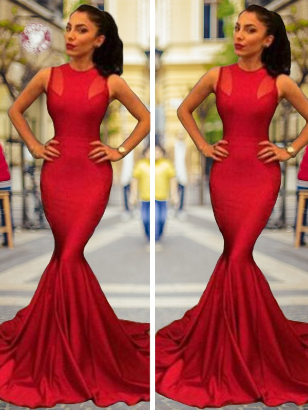 Mermaid Sleeveless Jewel Court Train Elastic Woven Satin Dresses