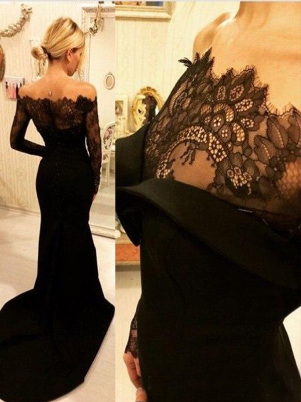 Mermaid Long Sleeves Off-the-Shoulder Sweep/Brush Train Lace Elastic Woven Satin Dresses