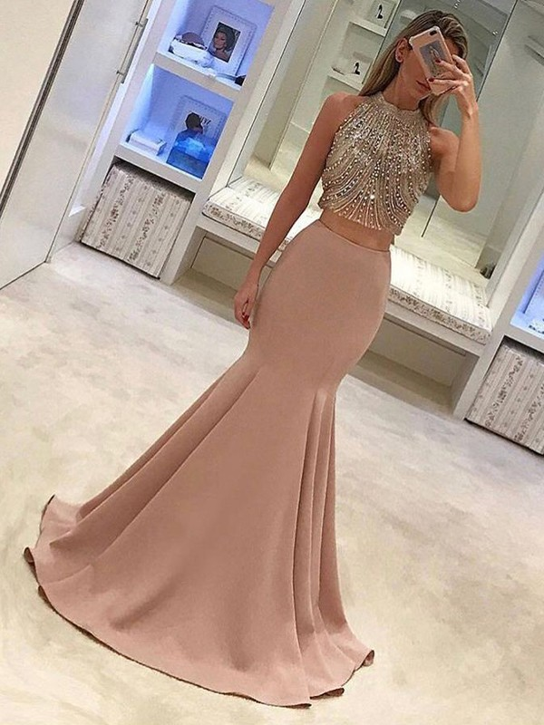 Mermaid Sleeveless High Neck Sweep/Brush Train Beading Satin Two Piece Dresses