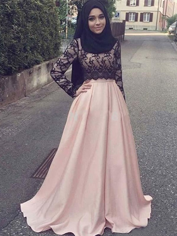 A-Line Long Sleeves Scoop Sweep/Brush Train Applique Satin Muslim Dresses