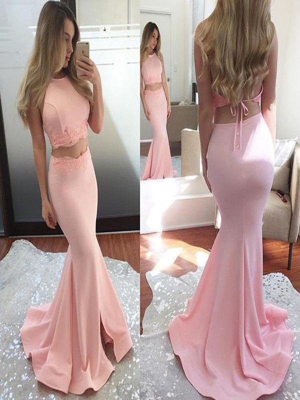 Mermaid Sleeveless Halter Sweep/Brush Train Applique Elastic Woven Satin Two Piece Dresses