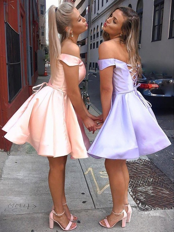A-Line/Princess Sleeveless Off-the-Shoulder Satin Short/Mini Ruffles Dresses