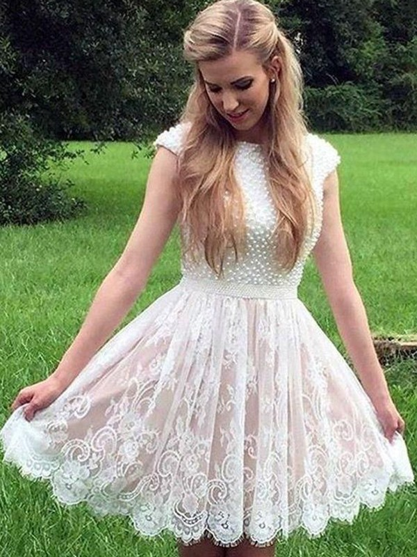 A-Line/Princess Lace Sheer Neck Sleeveless Pearls Short/Mini Dresses