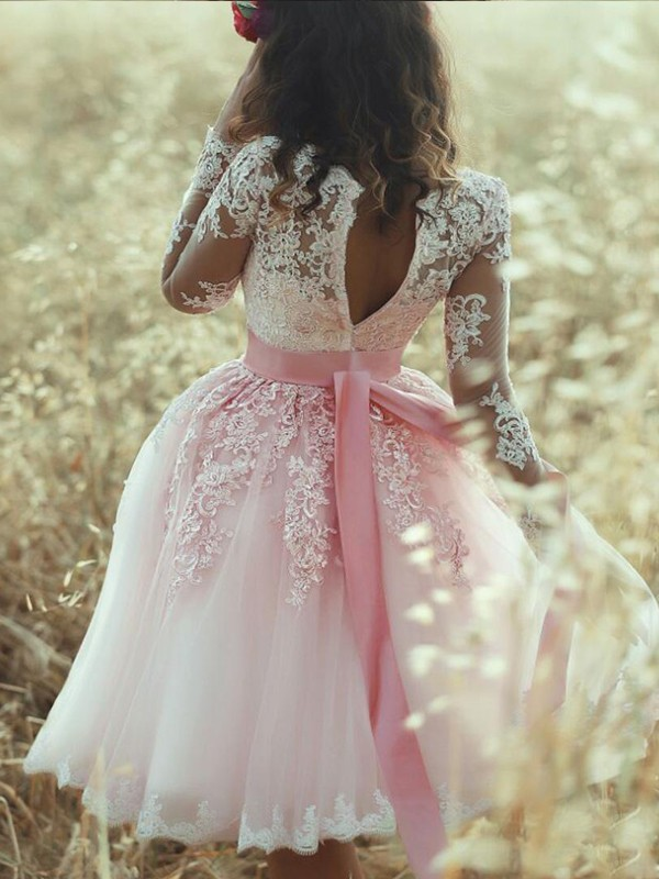 A-Line/Princess Sleeveless Sweetheart Lace Tulle Short/Mini Dresses