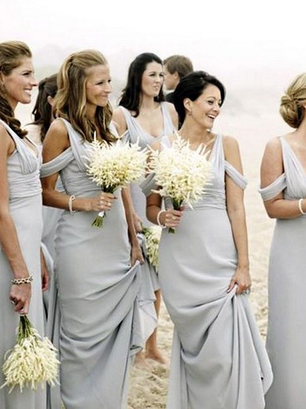 Sheath/Column V-neck Sleeveless Floor-Length Chiffon Bridesmaid Dresses