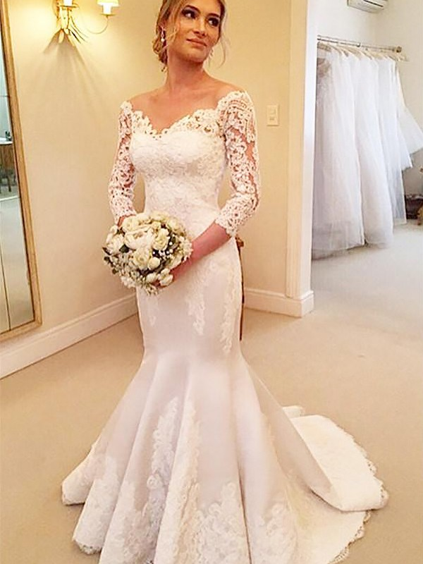 Mermaid 3/4 Sleeves Satin Off-the-Shoulder Lace Court Train Wedding Dresses