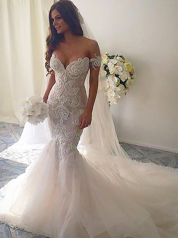 Mermaid Chapel Train Off-the-Shoulder Tulle Sleeveless Wedding Dresses