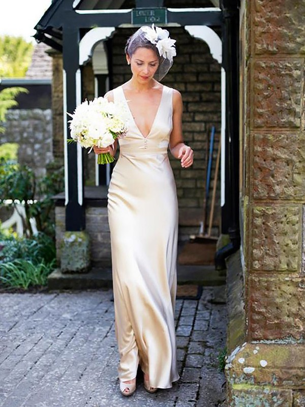 Sheath Satin Sleeveless V-neck Sweep/Brush Train Wedding Dresses
