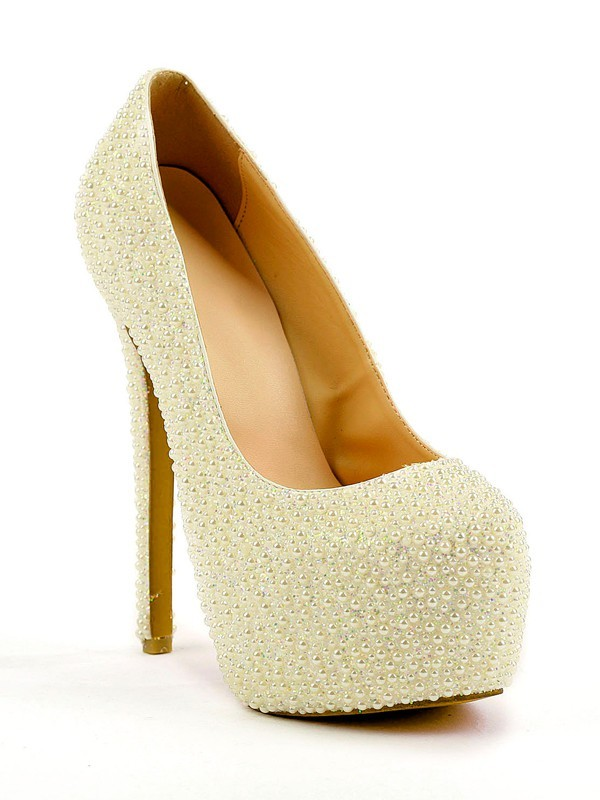 Women's Stiletto Heel Closed Toe Platform With Pearl High Heels