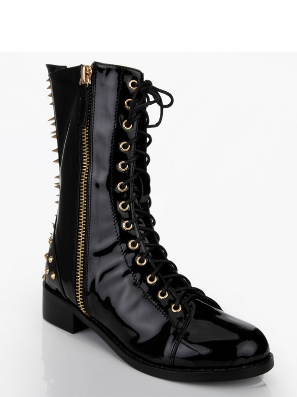 Women's Patent Leather Chunky Heel With Rivet Mid-Calf Black Boots