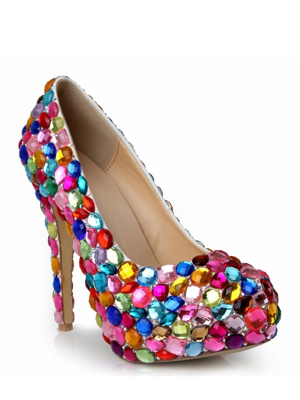 Women's Stiletto Heel Patent Leather Closed Toe Platform With Rhinestone Platforms Shoes