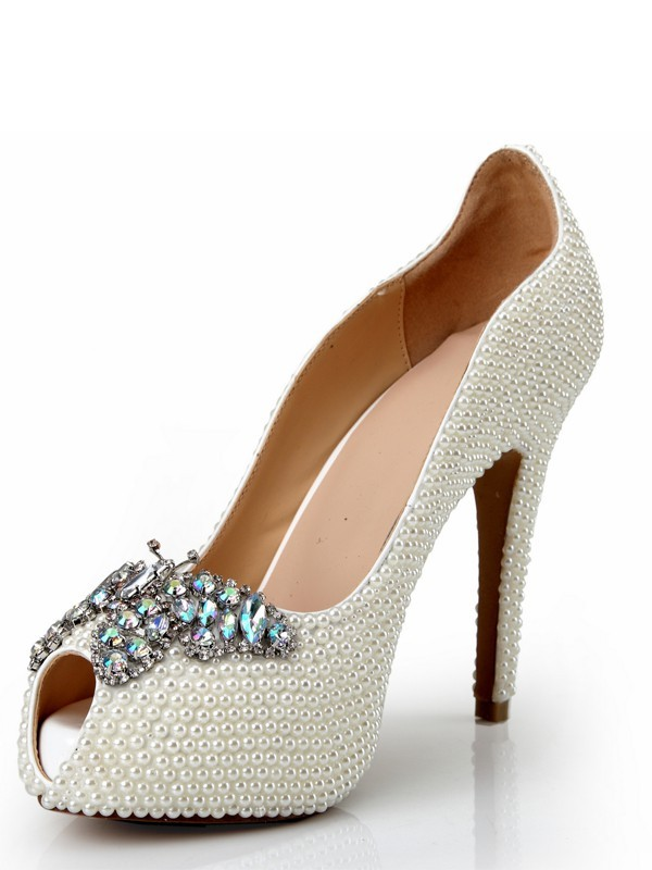 Women's Peep Toe Patent Leather Stiletto Heel Platform With Pearl Rhinestone Platforms Shoes
