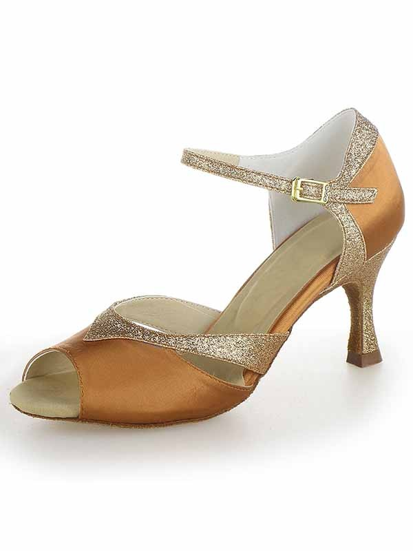 Women's Satin Peep Toe Stiletto Heel Sparkling Glitter Dance Shoes