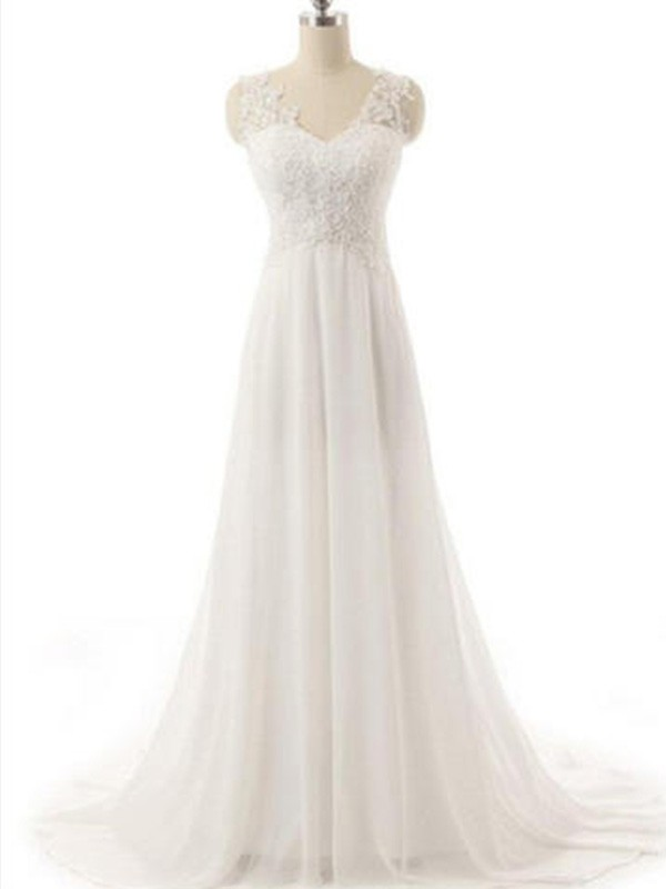 A-Line V-neck Sleeveless Sweep/Brush Train Lace Chiffon Wedding Dress
