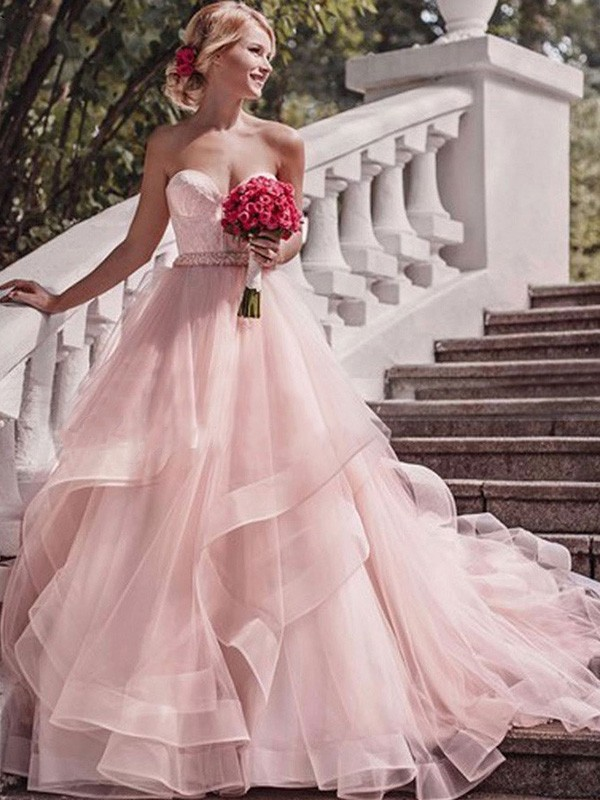 Ball Gown Sweetheart Sleeveless Court Train Organza Wedding Dress